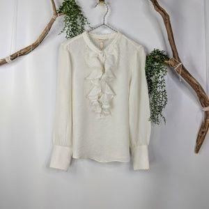 Rebecca Taylor Silk long sleeve ruffle blouse